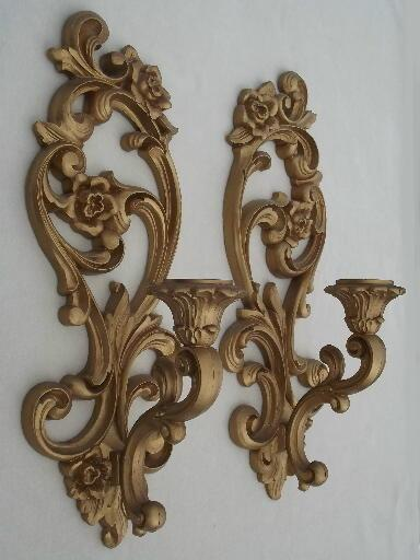 Ornate Gold Wall Sconces Vintage Homco Candle Holders
