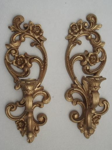 Candle Wall Sconces Vintage : ornate gold wall sconces, vintage Homco candle holders wall plaques