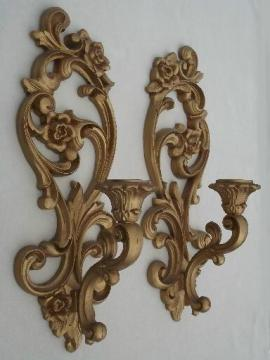 ornate gold wall sconces, vintage Homco candle holders wall plaques