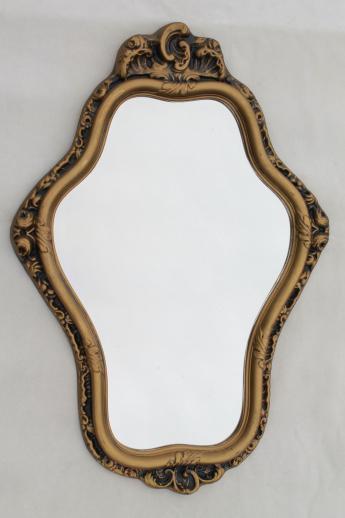 Ornate Hall Or Mantel Mirror Vintage Gold Rococo Plastic