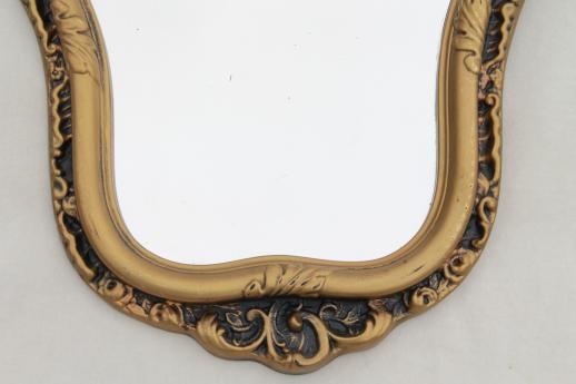 ornate hall or mantel mirror, vintage gold rococo plastic frame w/ french fairy tale style!