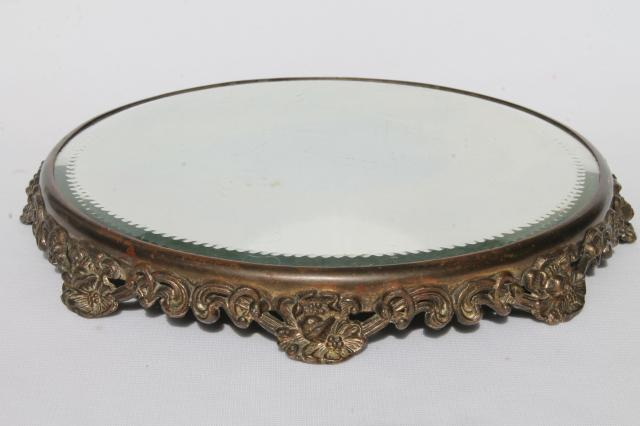 ornate metal frame plateau w/ round glass mirror, vintage vanity table  perfume tray - Ornate Metal Frame Plateau W/ Round Glass Mirror, Vintage Vanity