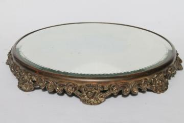 ornate metal frame plateau w/ round glass mirror, vintage vanity table perfume tray