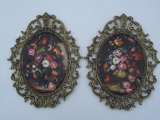 Ornate Metal Picture Frames W Padded Satin Floral Prints