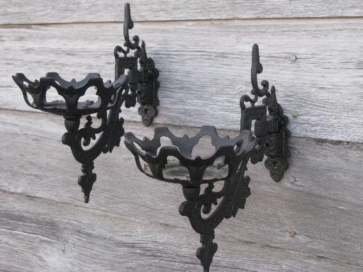 Ornate Oil Lamp Holder Wall Brackets, Vintage Wood Oil Lamp Holder