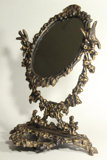 Ornate Old Cast Iron Tilt Mirror On Stand Shaving Or