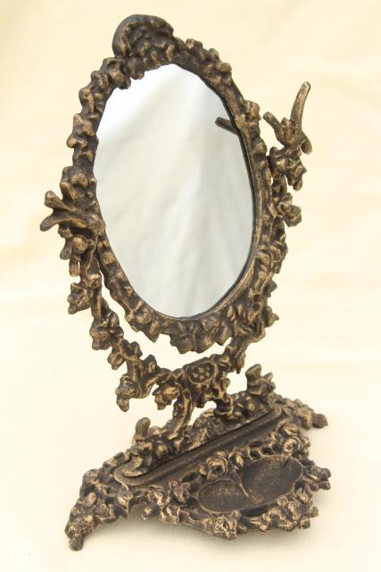 mirror on a stand vanity. ornate old cast iron tilt mirror on stand  shaving or vanity table