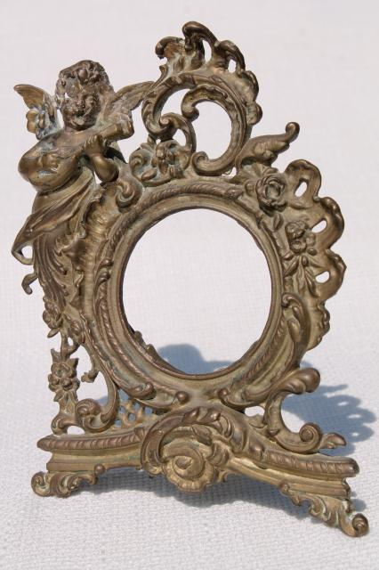 Ornate Rococo Style Brass Frame W Cherub Angel Vintage