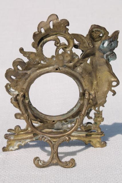 ornate rococo style brass frame w/ cherub angel, vintage antique reproduction
