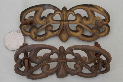 Ornate Solid Brass Drawer Pull Back Plates Vintage