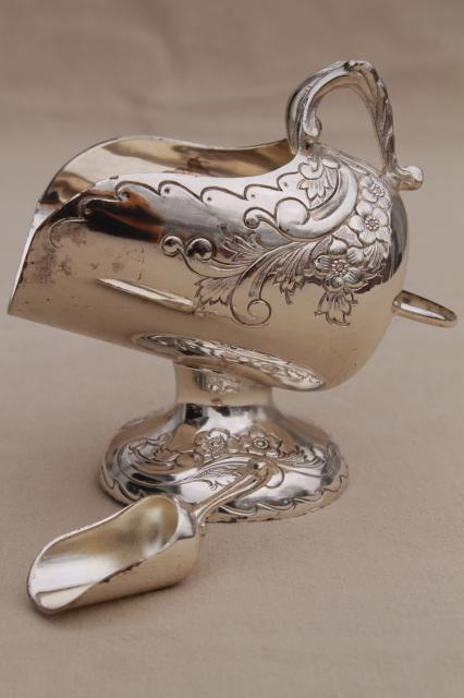 ornate sugar scuttle bowl, gold lined vintage silver plate sugar scoop