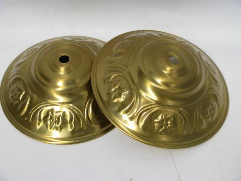 ornate vintage brass ceiling light/chandelier canopies, lamp cap lot