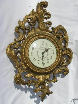 ornate vintage gold rococo wall clock, New Haven w/ Burwood frame