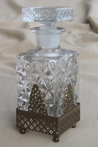 Ornate Vintage Perfume Bottle Large Glass Scent Bottle