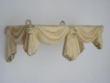 ornate vintage plaster wall shelf, french country ivory and gold chalkware
