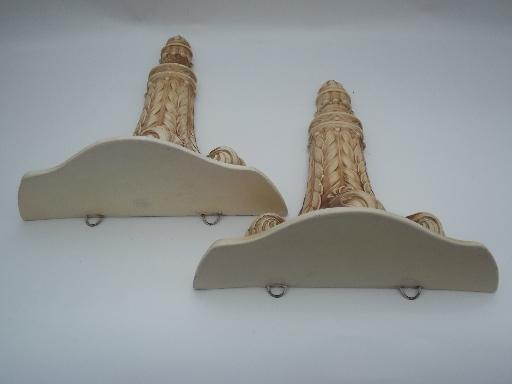 Ornate Vintage Plaster Wall Shelves, Pair Chalkware