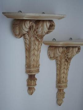 ornate vintage plaster wall shelves, pair chalkware brackets w/ antique paint