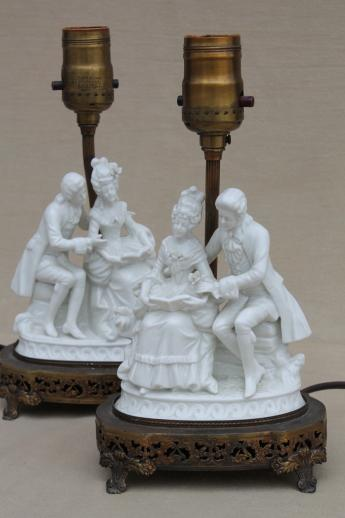 Ornate Vintage Pure White Porcelain French Couple Figurine