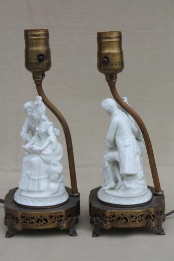 ornate vintage pure white porcelain french couple figurine table lamps pair