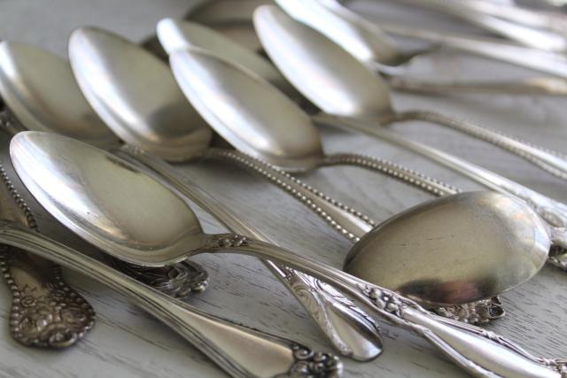 ornate vintage silver plate fruit spoons & teaspoons, mismatched silverware lot