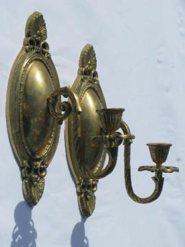 ornate wall sconces, solid brass candle sconce pair