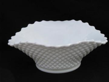 oval bowl, vintage Westmoreland white milk glass english hobnail pattern
