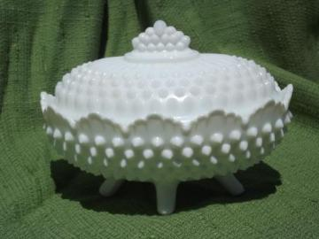 oval box or dish, vintage hobnail milk glass Fenton or Westmoreland?