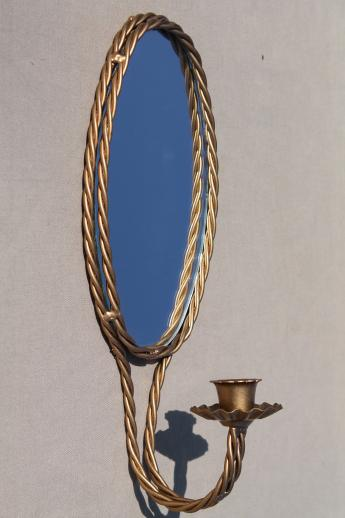 Oval Mirror Wall Sconces Vintage Gold Rope Twist Candle