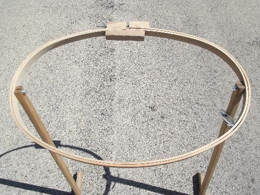 oval wood quilting frame, needlework embroidery hoop on stand