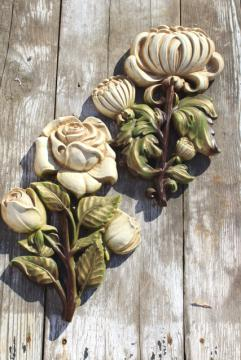 oversized flowers vintage chalkware plaques, rustic white shabby cottage farmhouse decor wall art