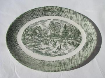 ox-bow oval platter, vintage green & white Currier & Ives scene china