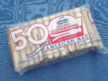 package of 50 old wooden clothespins, vintage hardwood from Maine