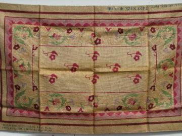painted floral vintage hessian burlap hooked rug canvas to hook w/ yarn or wool