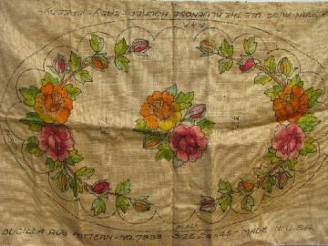 painted flowered oval vintage hessian burlap hooked rug canvas to hook w/ yarn or wool