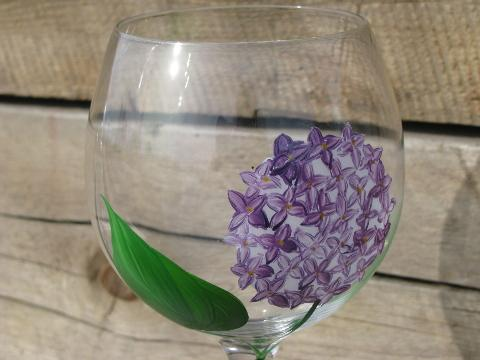 painted flowers pink, blue, ivory, lavender floral wine glasses set