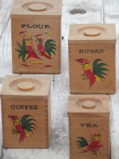 Painted Roosters Wood Canisters, Shabby Country Vintage Kitchen Canister Set
