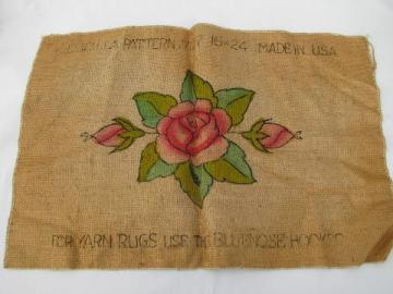 painted rose vintage hessian burlap hooked rug mat canvas to hook w/ yarn or wool