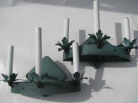 painted tole iron sconce lamp pair, electric candle sconces wall lights