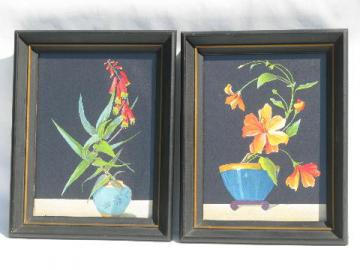pair 1950s vintage wood framed prints, deco tropical flowers on black