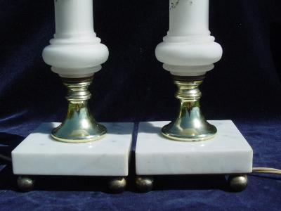 pair 40's vintage satin glass vanity lamps