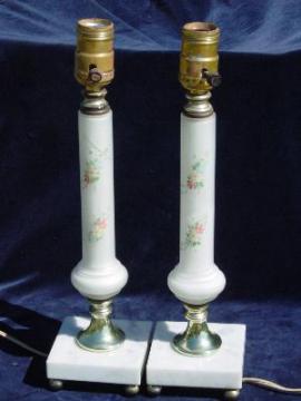 pair 40's vintage satin glass vanity lamps