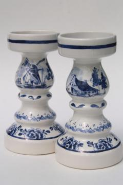 pair Delft blue & white pottery candlesticks for 70s vintage chunky pillar candles