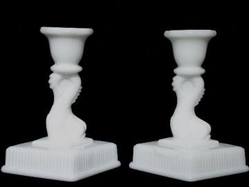pair Imperial glass dolphin candlesticks, antique milk glass reproductions