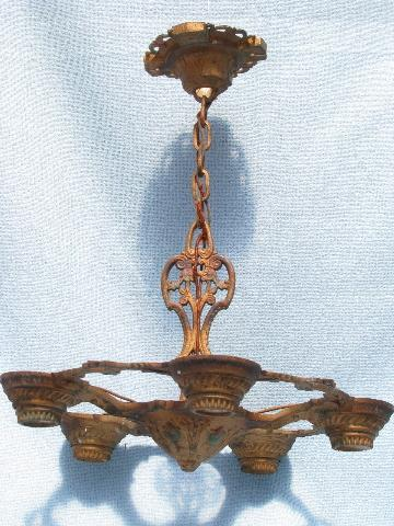pair antique Eastlake cast iron chandelier lights w/ original painted finish