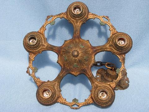 pair antique Eastlake cast iron chandelier lights w/ original painted finish - Pair Antique Eastlake Cast Iron Chandelier Lights W/ Original