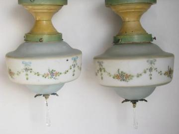 pair antique ceiling light fixtures w/ handpainted glass shades, vintage cottage lighting