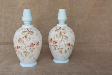 pair antique cologne bottles, satin finish hand painted Bristol glass