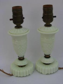 pair antique electric Akro Agate custard glass vanity lamps