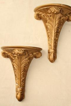 pair antique gold painted plaster molding wall bracket shelves, elegant french plumes