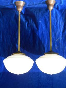 pair antique industrial vintage lighting, brass pendant fixtures w/shades